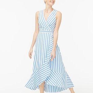 J.Crew Ruffle V neck wrap dress in cotton poplin